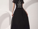 Black-Short-Sleeves-Embroidery-Satin-Chiffon-Mother-Of-Bride-And-Groom-Dress