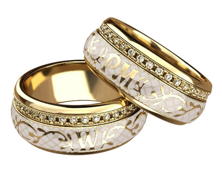 Серебряные обручальные кольца с позолотой
