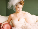 blush-pink-wedding-dress-with-birdcage-veil