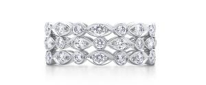 дизайнерское кольцо с множеством бриллиантов в три ряда Swing