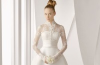 кружевное свадебное платье с рукавами